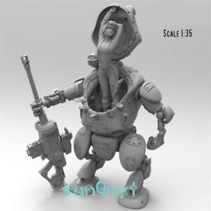Unpainted-Mechanic-Soldier-Figure-1-35-Film-Robot-Woman-Model-Resin-Unassembled