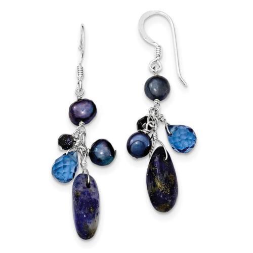 Sterling Silver Blue Sandstone Dark Blue FW Cultured Pearl Earrings 7mm x 46mm