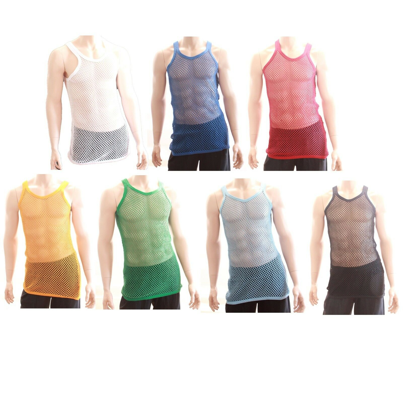24 x 100% Cotton Fishnet Mesh Hole  String Muscle Singlet Vest  WHOLESALE JOB LOT  world famous sale online