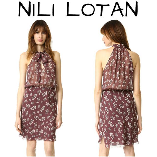 d0ad97844519 Nili Lotan XS Dress Blossom Print 100 Silk Maroon/ivory for sale ...