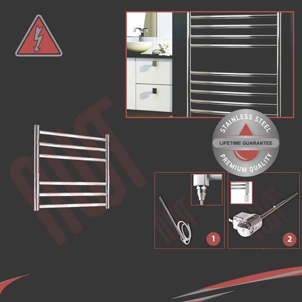 500mm (W) x 430mm (H) ELETTRICO IN ACCIAIO INOX LUCIDO PORTA ASCIUGAMANI SCALDA 150W