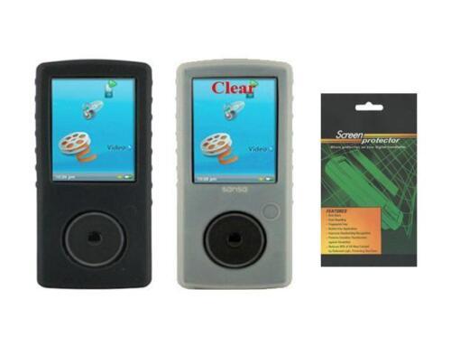 Screen Protector for Sandisk Sansa View SDMX10R Black//White Soft Cover Case