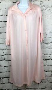 Vintage Vanity Fair Womens Pink Button Front Nightshirt Nylon Robe Pocket Small