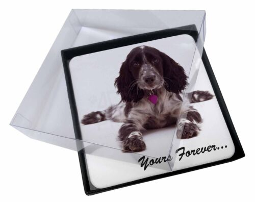 4x Blue Roan Cocker Spaniel 'Yours Forever' Picture Table Coasters Set, AD-SC21C