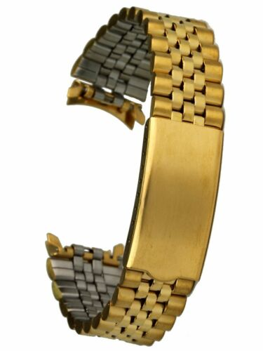 Osco Edelstahluhrarmband gold 18mm Faltschliesse Uhrband Jubilee-Style