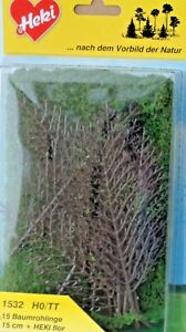 HEKI-1532-h0-TT-Baumrohlinge-15-arbres-15-cm-Heki-Flor-kit-NEUF