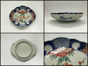 Japanese Porcelain Dish Plate Vintage Old Imari Ware Hand Paint Pine Plum F055