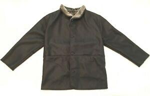 Adolfo-Dominguez-Brown-Faux-Leather-Fur-Coat-Size-48-Mens-Jacket-Spain-Button