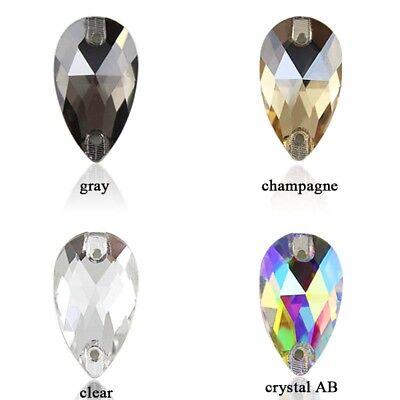 48 Pcs Water Tear Drop Shape Rhinestone Crystal AB Sew-on 2 Hole Flatback Craft