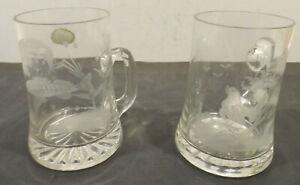 2-Fatto-a-Mano-Bicchieri-Birra-Caraffe-con-Auerhahn-U-Motivo-Pesce-Glasatelier