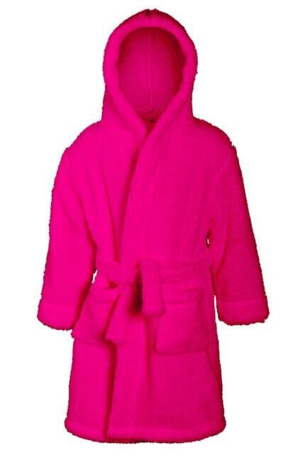 Boys Girls Snuggle Fleece Hooded Dressing Gown Robe Super Soft Childrens Kids