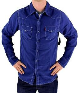 NEW-LEVI-039-S-MEN-039-S-LINEN-LONG-SLEEVE-BUTTON-UP-CASUAL-DRESS-SHIRT-BLUE-8151400