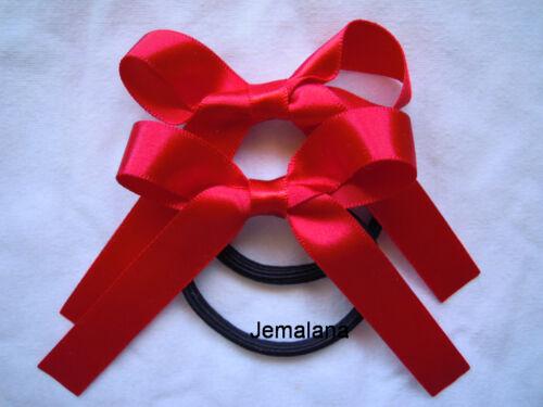 Satin ribbons Jemlana/'s handmade school hair ties ..Set of 2 hair ties