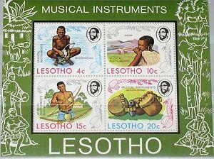 Lesotho-1975-bloc-1-s-s-177a-musical-instruments-Instruments-de-Musique-Music-MNH