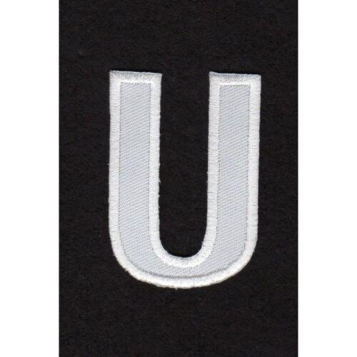 Ecusson thermocollant Alphabet Lettre U Coloris Blanc REF u//21