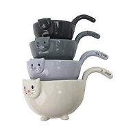 Cat Measuring Cups Nesting Bowls Set Of 4 Ceramic 6 Inch Kitchen Baking Gift