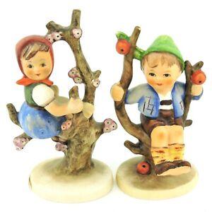 "Vintage Goebel Hummel Apple Tree Boy and Girl 742 3/0 747 3/0 TMK-3 3.5"" Tall"