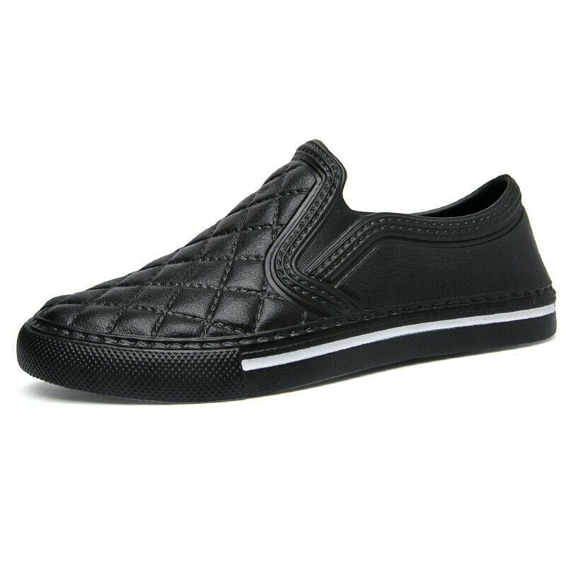 Mens Round toe Loafers Slip on Casual shoes Flats Outdoor PU Leather Comfort New