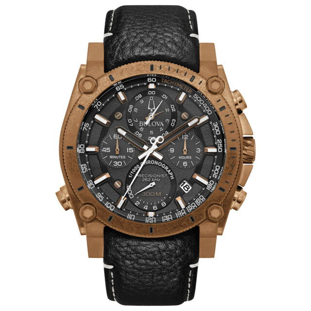 Bulova Precisionist Men's Quartz Chronograph Bronze IP Case 46mm Watch 97B188