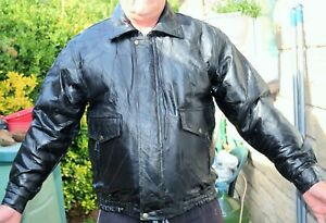 Large-Mens-Casual-Genuine-Patch-Distressed-Vintage-Leather-Jacket-Coat-NEW-L