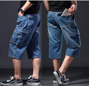 Hot-Men-039-s-Jeans-Denim-Cargo-Combat-Short-Summer-Casual-Multi-Poche-Pant-W30-48