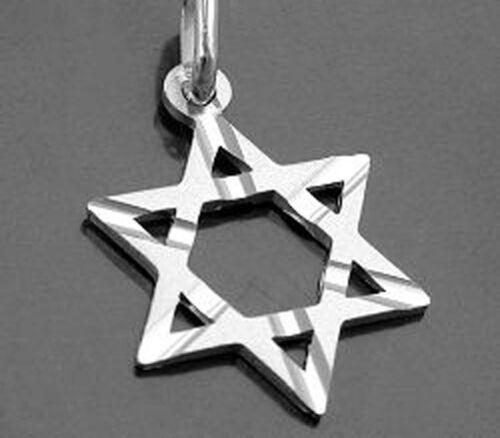 925 real plata ✡✡✡ remolque david-estrella hexagrama 18 mm