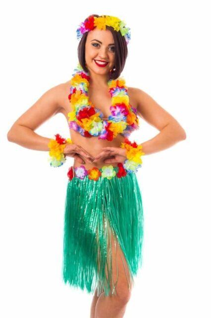 Donna Hawaii Set Blu Aloha Costume di Rafia Collana Fiori Hula