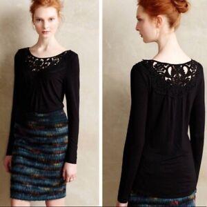 Meadow-Rue-Anthropologie-Black-Bobbinlace-Blouse-Sz-S-Long-Sleeve-Top-Crochet