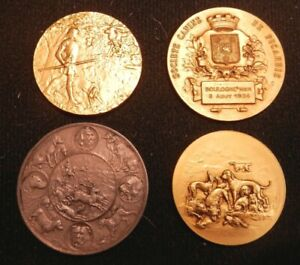 Bulldog-Dog-Show-Large-Group-of-French-Prize-Medals-France-1920s-Some-boxed
