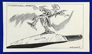 1989-Patriots-Raymond-Berry-Firing-12x20-Original-Cartoon-Art-by-Eddie-Germano