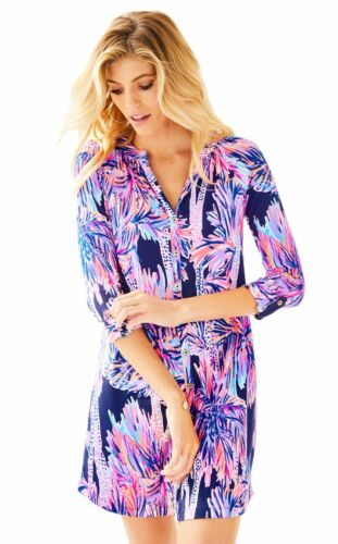 $168 Lilly Pulitzer Bailor Bright Navy Palms Up Jersey Belted Shirt Dress