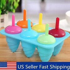 6 Cell Frozen Ice Cream Pop Mold Lolly Mould Tray Pan Kitchen DIY Popsicle Maker