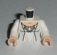 TORSO F007 Lego Female White Dress Silver Robe & Silver Brooch NEW Bride Wedding