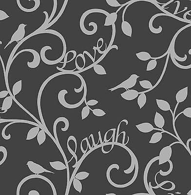 Fine Decor - FD40287 - Live- Love- Laugh Luxury Motif Wallpaper- Black / Silver