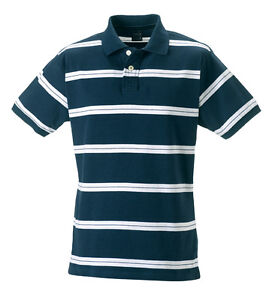 89c0771a Image is loading Jerzees-BLUE-WHITE-Striped-Cotton-Varsity-Campus-Golf-
