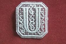 Oblong letter/initial U lace motif - applique/sew on trim/craft/card making
