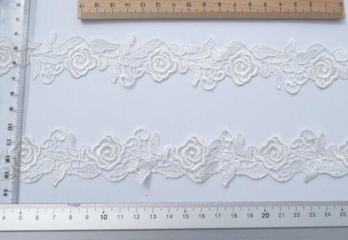 1 Meter SPITZE APPLIKATION Meterware Ivory 38CM Brautmode Hochzeitskleid