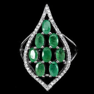 Elegant-Natural-GEM-Top-Rich-Green-Emerald-amp-White-Cz-925-sterling-Silver-Ring