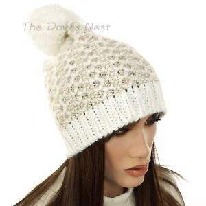 e4e13c3682d3 SONOMA Women s Marled TAUPE   White IVORY BEANIE HAT with POM Winter ...