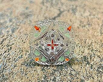20 mm rounded square Czech Glass Button Crystal with Gold Accents