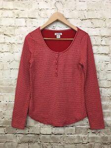 Lucky-Brand-women-top-Medium-Stripe-Knit-Henley-Long-Sleeve-Red-Shirt-casual