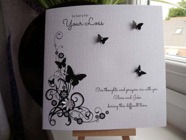Handmade Personalised Sympathy Condolence Bereavement Sorry for Your Loss Card