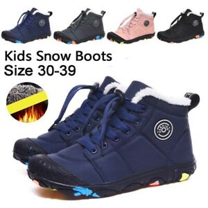 KIDS-SNOW-BOOTS-BOYS-GIRLS-WARM-FUR-LINED-ANKLE-BOOTS-WINTER-TRAINERS-SHOES-SIZE