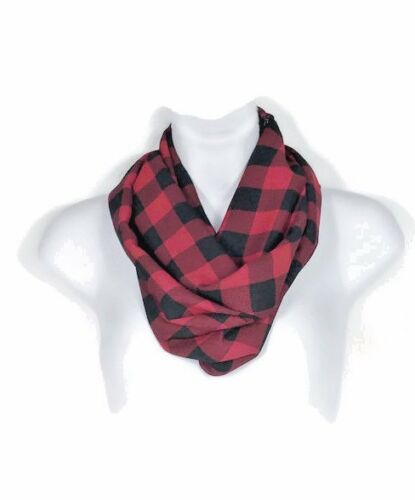 Buffalo Check Infinity Scarves Red and Black Chiffon Scarves Buffalo Plaid Scarf