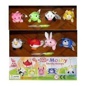 Stupendo Set MOSHI COUNTRY ANIMALS 8 Mini Peluche COOL THINGS Nuovi ANTI STRESS!