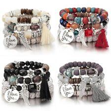 4Pcs I Love You Multilayer Natural Stone Crystal Bangle Beaded Bracelet Jewelry