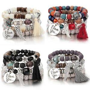4Pcs-I-Love-You-multicouche-Pierre-Naturelle-Cristal-Bracelet-De-Perles-Bracelet-Bijoux