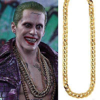 Razionale Joker Squadra Suicida Catena A Trama Grossa Oro Accessorio 81cms-mostra Il Titolo Originale Elaborato Finemente