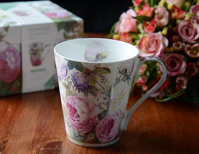 Set of 2 V&A Brompton Rose FINE BONE CHINA MUGS In Gift Box VICTORIA & ALBERT