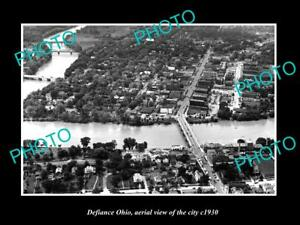 OLD-LARGE-HISTORIC-PHOTO-OF-DEFIANCE-OHIO-AERIAL-VIEW-OF-THE-CITY-c1930